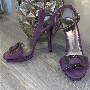 Bebe Suede High Heel Sandals in Purple Size 5